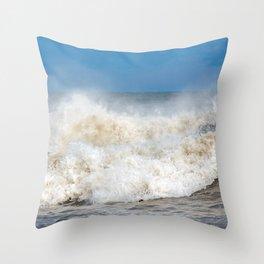 Seaham waves Throw Pillow