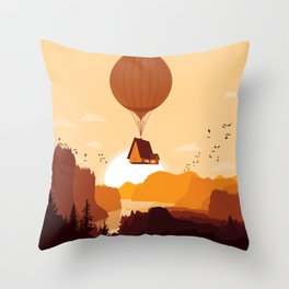 Flying House Throw Pillow