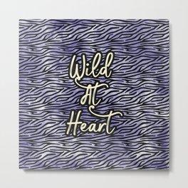 Wild at heart, Blue zebra print Metal Print