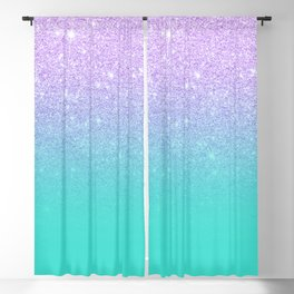 Modern mermaid lavender glitter turquoise ombre pattern Blackout Curtain