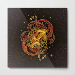 Sagittarius Zodiac Sign Fire element Metal Print