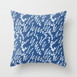 Navy scribble pattern abstract Throw Pillow