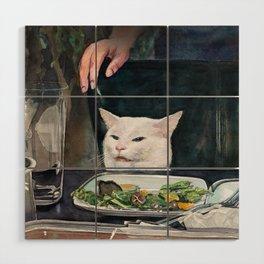 Woman Yelling at Cat Meme-2 Wood Wall Art