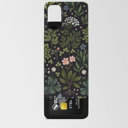 Herbarium ~ vintage inspired botanical art print ~ black Android Card Case