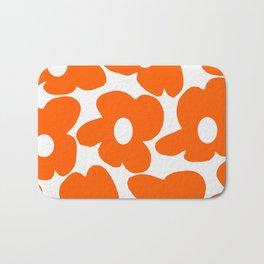 Orange Retro Flowers White Background #decor #society6 #buyart Bath Mat