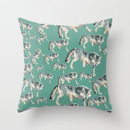Totem Polar wolf Throw Pillow