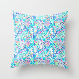 Coral reef blue Throw Pillow
