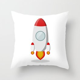 The rocket takes off isolated on a white background Throw Pillow