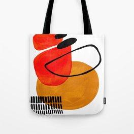 Mid Century Modern Abstract Vintage Pop Art Space Age Pattern Orange Yellow Black Orbit Accent Tote Bag
