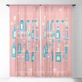 Cocktails And Drinks In Aquas and Pinks Sheer Curtain