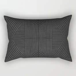 Charcoal grey line work on textured cloth - abstract geometric pattern Rectangular Pillow