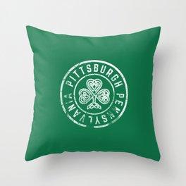 Pittsburgh Irish Shamrock St Patricks Day Green Vintage 412 Throw Pillow