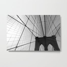 Brooklyn Bridge Black and White Metal Print