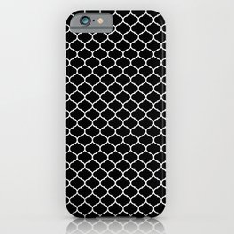seamless pattern, Oriental  design,  black and white iPhone Case