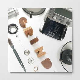 Grind # 2 // Exploded View Espresso Coffee Grinder Wood Block Typography Lettering Photograph Metal Print