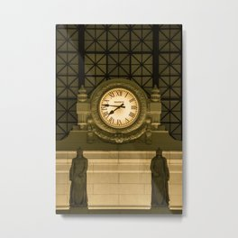 Ancient Clock in the train station Metal Print