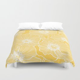 Sunshine Yellow Poppies Duvet Cover