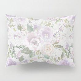 Lavender pastel green white watercolor floral pattern Pillow Sham
