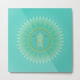 Turquoise Gold Mandala Turtle Metal Print
