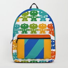 Rainbow Robots Holding Hands Backpack