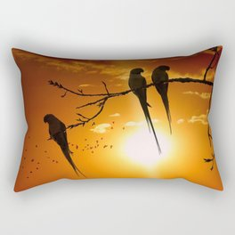 Three Magnificent Gorgeous Exotic Birds At Lovely Dusk Rectangular Pillow