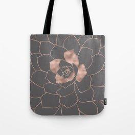 Rosegold  blossom on grey - Pink metal - effect flower Tote Bag