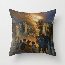 Midsummer Eve bonfire on Skagen's beach, Peder Severin Kroyer, 1906 Throw Pillow