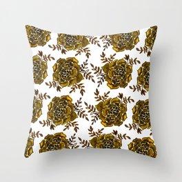 Watercolor houseleek - amber Throw Pillow
