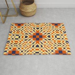 KEIKI retro pale yellow, orange, navy blue interesting pattern Rug