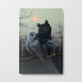 Owl Family Portrait Metal Print