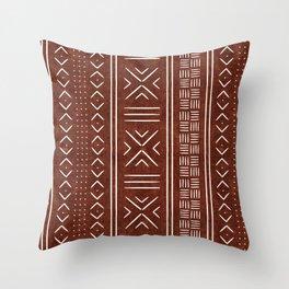 rust mud cloth Throw Pillow