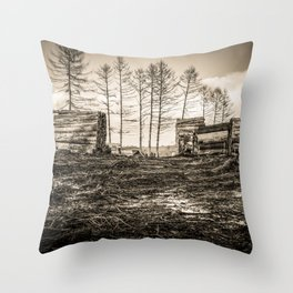 Poltery Site (Wood Storage Area) After Storm Victoria Möhne Forest sepia Throw Pillow