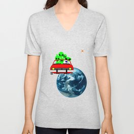 Ride to Mars selfie Unisex V-Neck