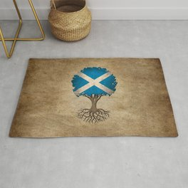 Vintage Tree of Life with Flag of Scotland Rug