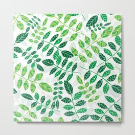 seamless repeating pattern of spring green ash leaves. spring greens on white.spring forest  Metal Print