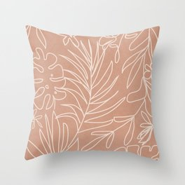 Engraved Tropical Line Throw Pillow