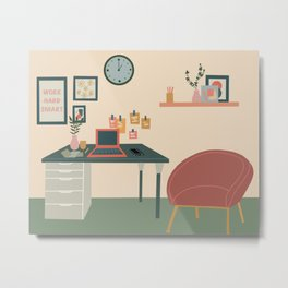 Working from home Metal Print
