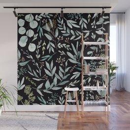 Black Eucalyptus Pattern Wall Mural