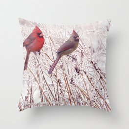 Male and Female Northern Cardinals in the winter Throw Pillow