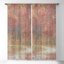 Red Autumn Sheer Curtain