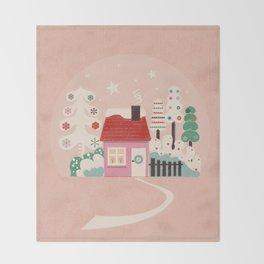 Festive Winter Hut in pink Throw Blanket