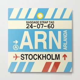 ARN Stockholm • Airport Code and Vintage Baggage Tag Design Metal Print