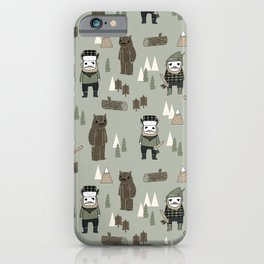 Forest lumberjack and bear nursery kids cute woodland camper gifts iPhone Case