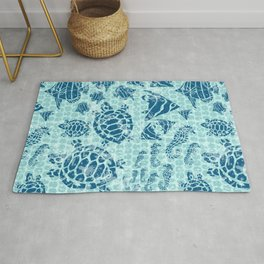Sea Life Print with Fish Turtles and Seahorses in Ocean Blue Teal Rug