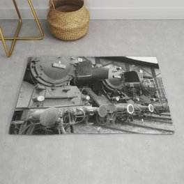 Old steam locomotive in the depot ZUG009CBx Le France black and white fine art photography by Ksavera Rug