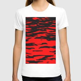 Black red abstract wave T-shirt
