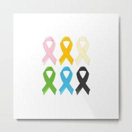 SIx Awareness Ribbons Metal Print