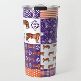 University clemson orange and purple quilt pattern tiger pattern gifts college sports football Travel Mug