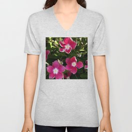 Red and Pink Garden Flowers in Dappled Light Unisex V-Neck