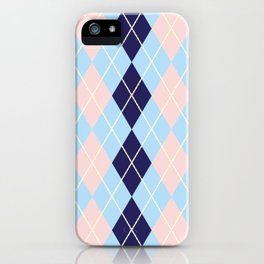 Schoolgirl Blue And Pink Argyle iPhone Case